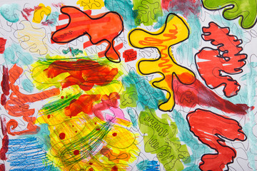 Chaotic abstract drawing. Children's sketch. Texture of stains for background.