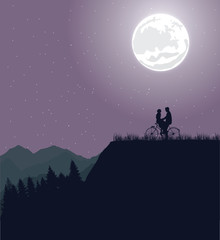 couple silhouette under the moon in bicycle riding bike romance