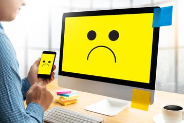 Depressive emotions concept,   smiley face emoticon printed depression and sad pessimistic face sadness