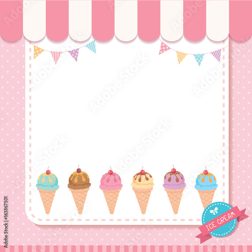 Ice cream cone menu template decorated with buntings on pink ...