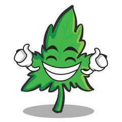 Proud face marijuana character cartoon