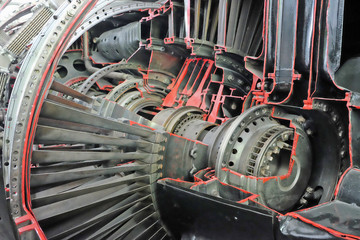 fighter turbojet  engine cutaway. the blades in the area of the compressor. selective focus.