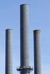 Smoke stacks from an industrial plant