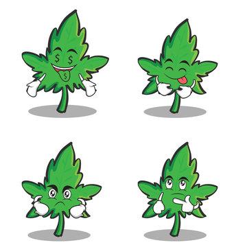 Collection marijuana character cartoon set