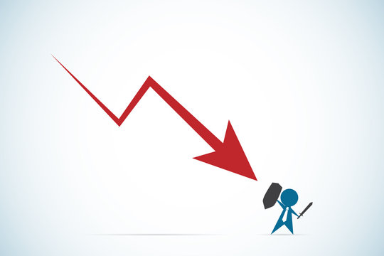 businessman against downward red arrow, business concept
