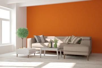 Orange room with sofa. Scandinavian interior design. 3D illustration
