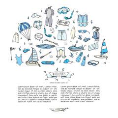 Hand drawn doodle Water sports icons set. Vector illustration, isolated symbols collection, Cartoon various elements: jetski, wakeboard, waterski, surfing, kayak, kitesurfing, paddle, parasailing
