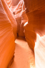 Path through lower Antelope Canyon - located on Navajo land near Page, Arizona, USA - beautiful colored rock formation in slot canyon in the American Southwest