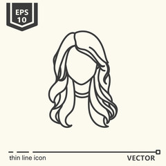Thin line icon - girl