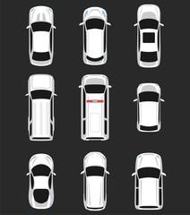 Set of cars top view for transportation theme. Includes sedan, van, wagon, hatchback, sportcar. Vector illustration