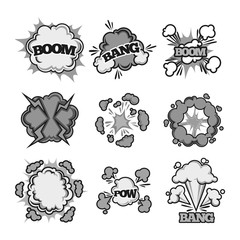 Boom, bang pow comic bubble sound clouds vector cartoon flat text icons
