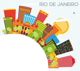 Rio De Janeiro Skyline with Color Buildings, Blue Sky and Copy Space.