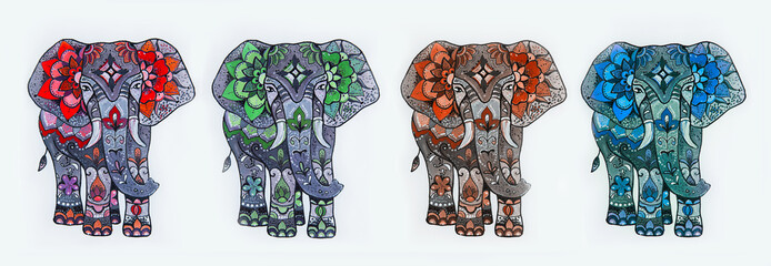 Set of sketches of an elephant with patterns from flowers on a white background.