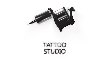 Metallic black tattoo machine  on white  background
