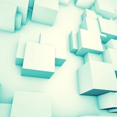 White cubes blue color