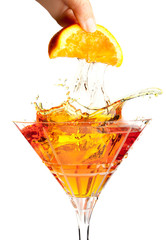 Splash cocktail with orange