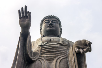 Close-up view of the Great Buddha of Ushiku, Japan. One of the tallest statues in the world