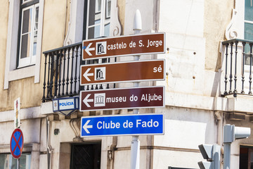 LISBON, PORTUGAL, on June 22, 2017. Elements of city navigation show the direction to sights in downtown