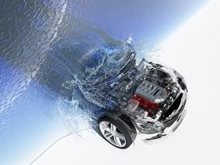 Auto under water.