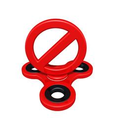 Banned Symbol On A Fidget Spinner 3D Illustration