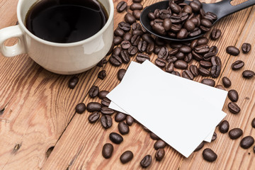 Coffee with blank business card