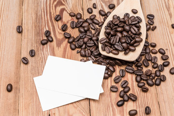 Coffee beans with blank business card