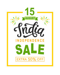 India independence day sale bright poster with hand written calligraphy