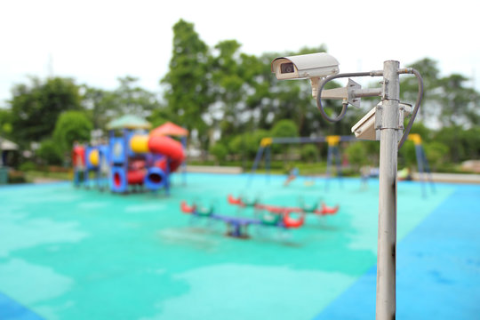 CCTV in playground for security of your child / CCTV and blur playground in background