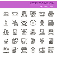 Retro Technology , Thin Line and Pixel Perfect Icons.