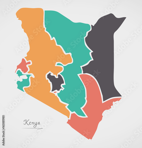 Kenya map with states and modern round shapes stock image and kenya map with states and modern round shapes gumiabroncs Image collections