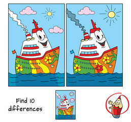 Funny cartoon ship. Find 10 differences. Educational game for children. Cartoon vector illustration