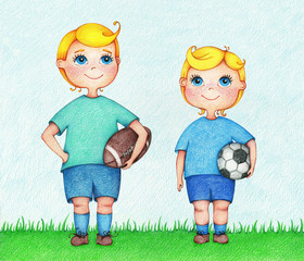 hands drawn illustration of two boys American and European Football players by the color pencils. Character design. Creative people professions collection