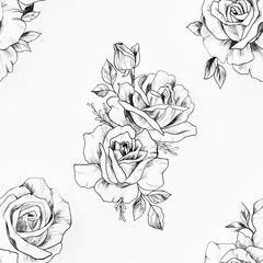 Seamless pattern of a black and white rose on a white background.