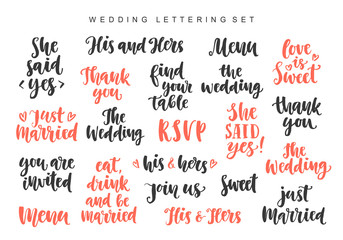 Wedding invitations lettering set, photo overlays isolated on white background