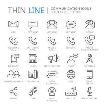 Collection of communication thin line icons