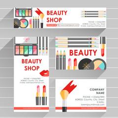 Vector flat ready design template for makeup artist, makeup stud