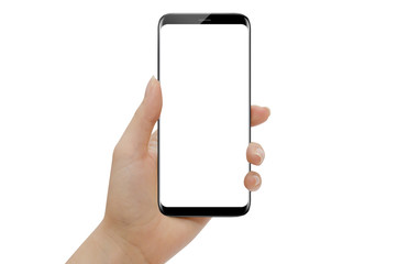 Hand holding modern smartphone with round edges isolated on white background