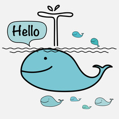 Cute Whale Say Hello On The Sea. Vector Illustration.