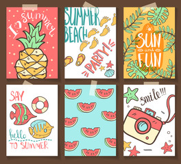 Vector collection of summer cards. Grettings and invintations. H