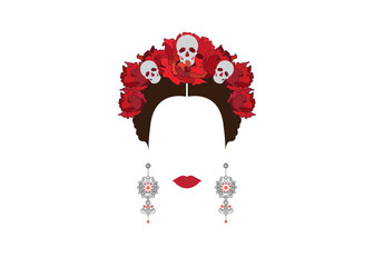 Portrait of modern Mexican or Spanish woman , With flower crowns and skulls, Mexican crafts earrings , Vector transparent background
