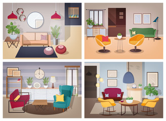 Soviet style living-room collection. Furnished apartment with domestic plants. Colorful vector illustration set.