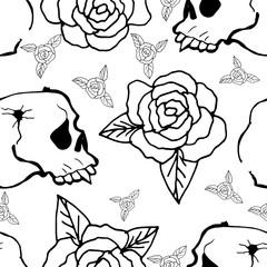 Cute Seamless Background. Skulls and roses. Hand Drawn Pattern.