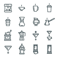 Coffee Types Brewing Flat Line Outline Stroke Icon Pictogram Symbol Set Collection