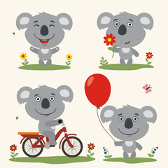 Collection isolated koala on bicycle, with balloon and flower in cartoon style. Vector set funny koala play on meadow summer.