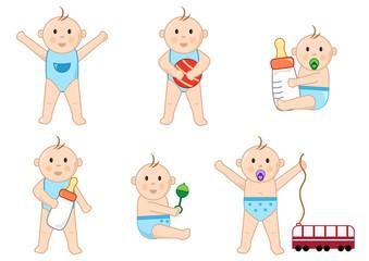 Children with toys, color set, vector illustration