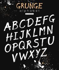 Vector Alphabet. Handwritten script font. Ink brush letters. Calligraphic modern design for banner, poster, postcard.