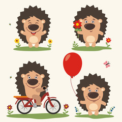 Vector set funny hedgehog play on meadow. Collection isolated hedgehog on bicycle, with balloon and flower in cartoon style.