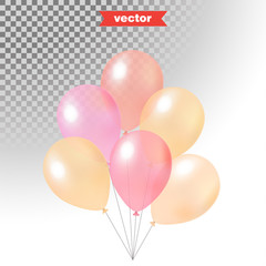 Pastel colored shine transparent air balloons, realistic 3d vector illustration