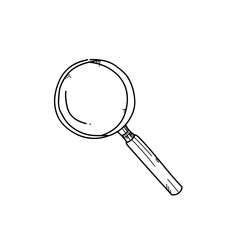 Magnify glass freehand drawing illustration on white background