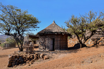 Typical rounded Djiboutian huts in a village in northern Djibouti, Day Forest National Park ( Forêt du Day) in Horn of Africa